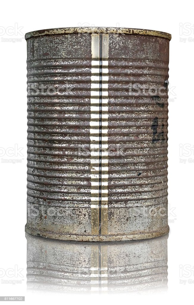old rusty can on white background stock photo