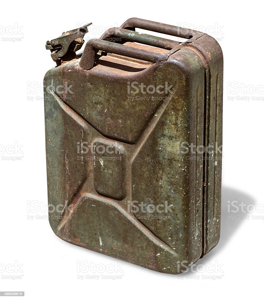 Old rusty canister stock photo