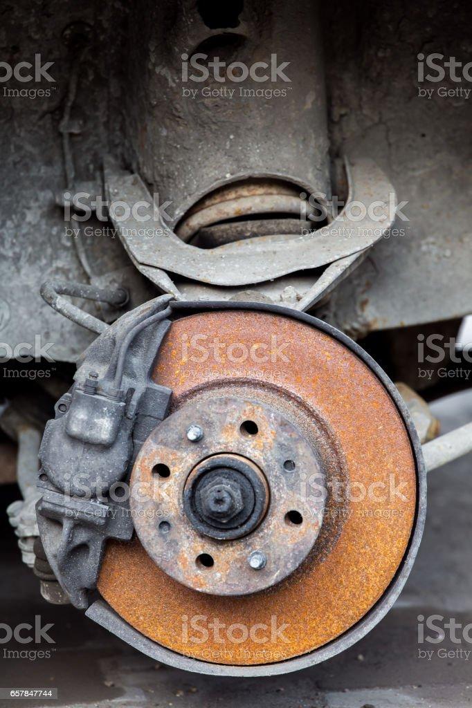 Old rusty car brakes. stock photo