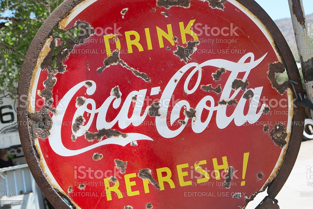 Old & rusty Coca Cola sign royalty-free stock photo