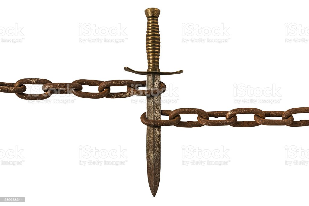 Old Rusty Dagger and Chains Isolated on White Background. stock photo