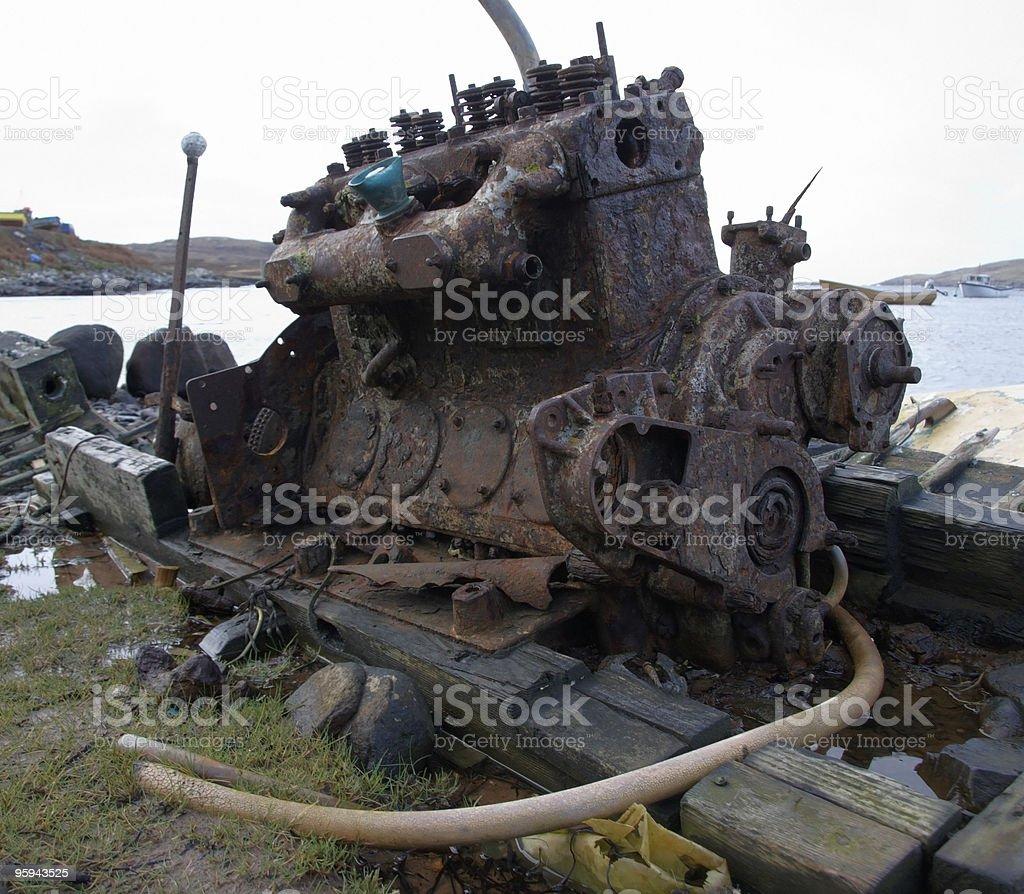 old rusty diesel engine stock photo
