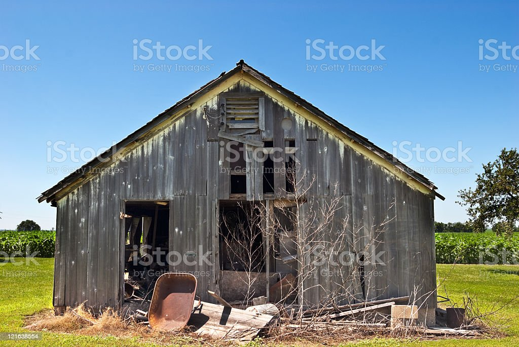 Old rusty farm house of wood stock photo