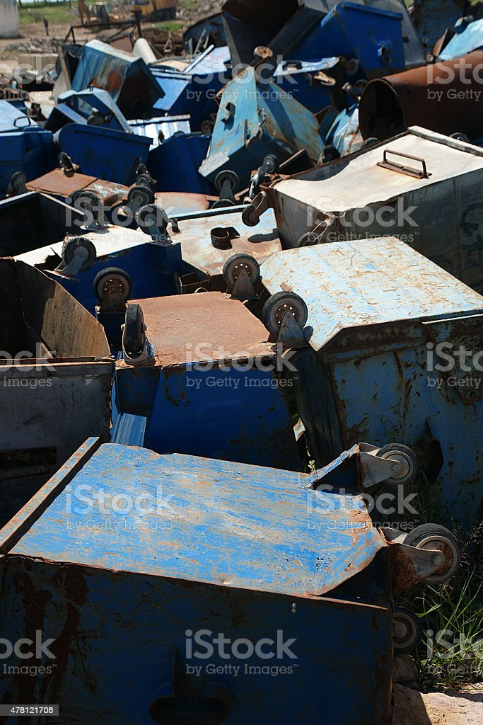 old rusty garbage container stock photo