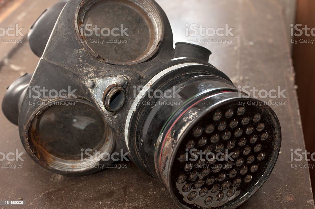 Old Rusty Gas Mask stock photo