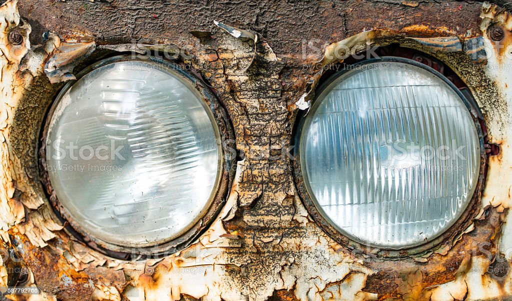 Old rusty headlight stock photo