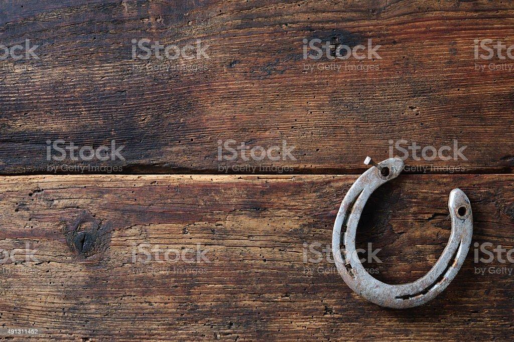 Old rusty horseshoe stock photo