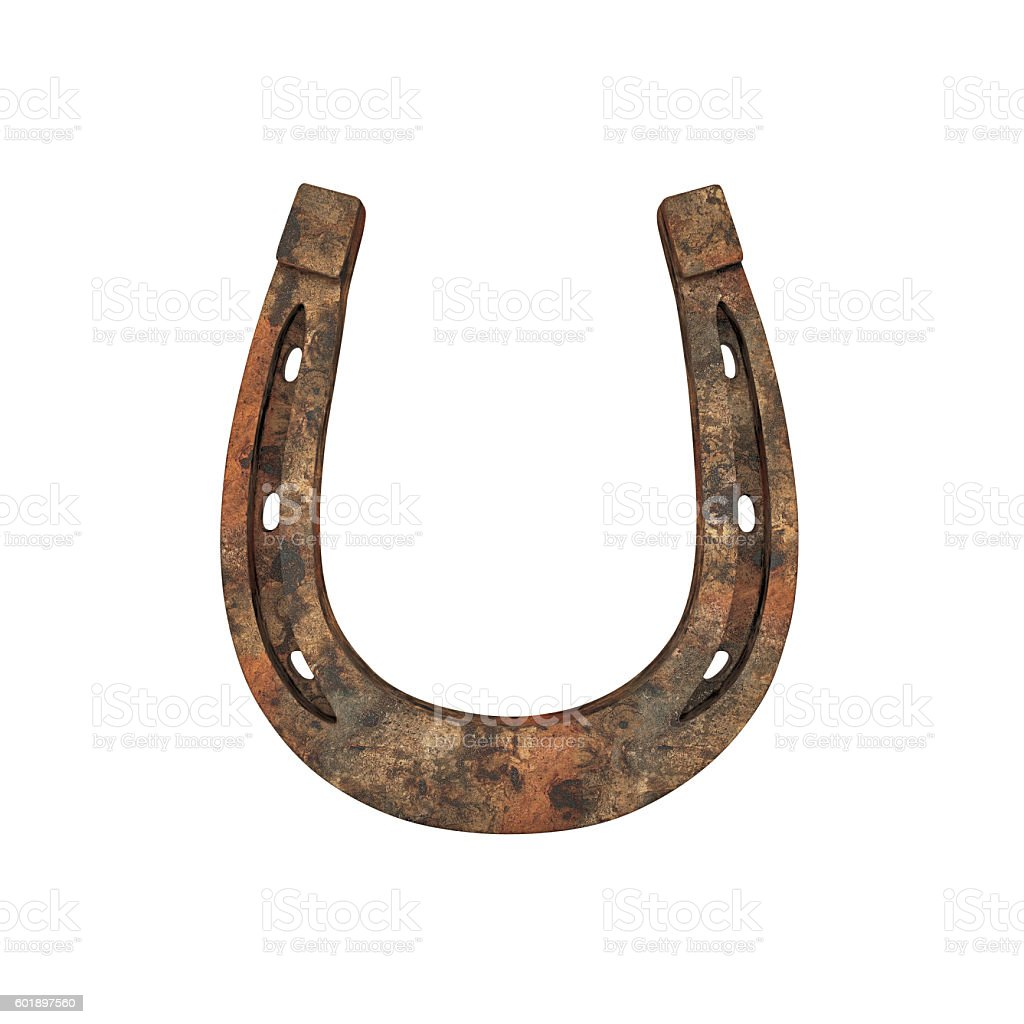 Old rusty horseshoe stock photo
