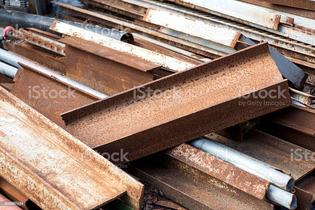 Old rusty iron in warehouse stock photo