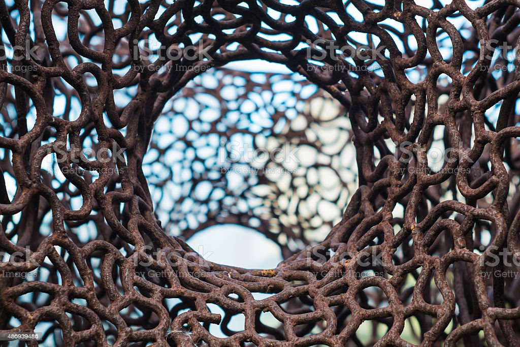 Old rusty iron net stock photo