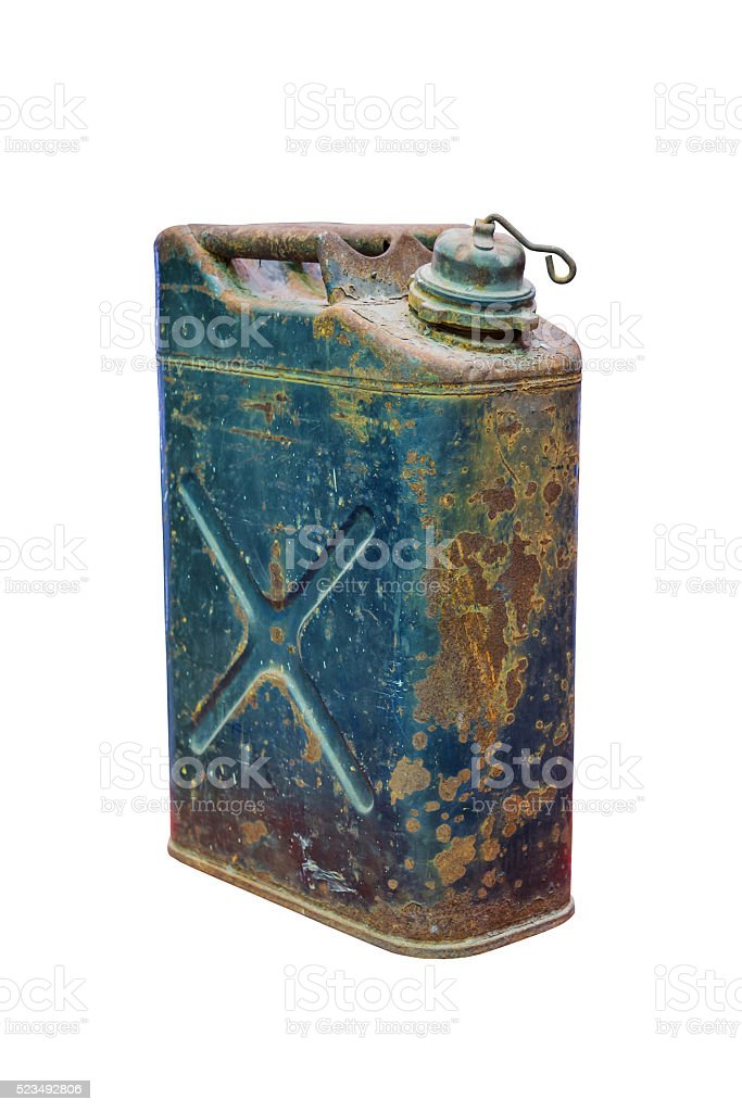 Old rusty jerrycan isolated on white stock photo