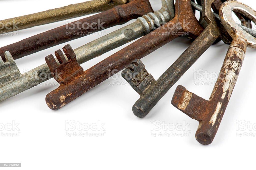 Old rusty keys stock photo