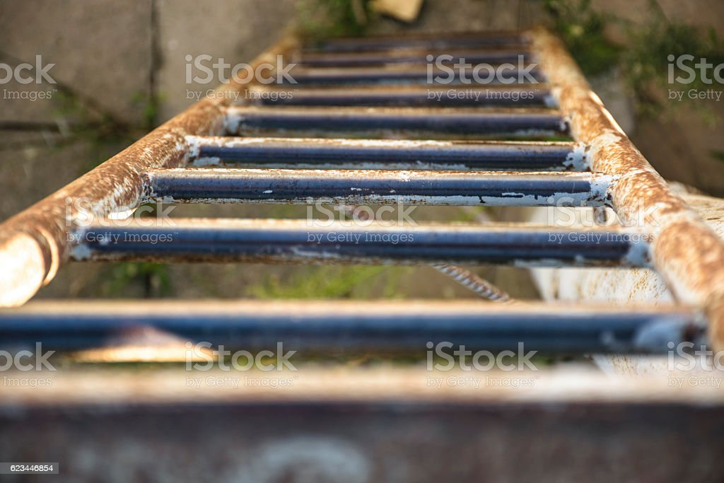 old rusty ladder stock photo