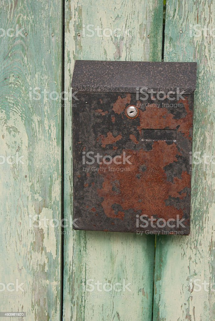 Old rusty letterbox stock photo