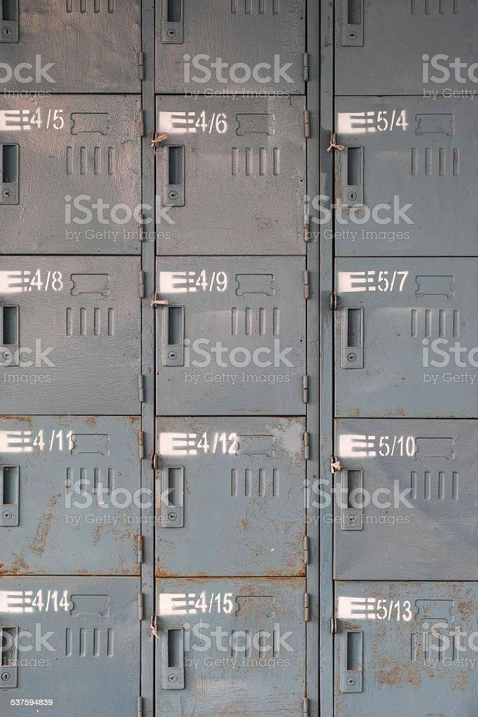 Old rusty lockers stock photo