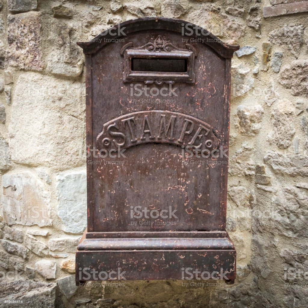 Old rusty mailbox stock photo