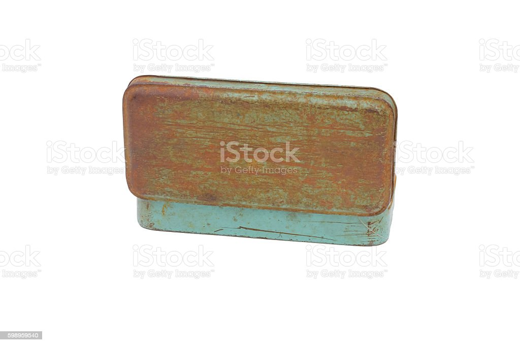 old rusty metal box isolated on white background. stock photo