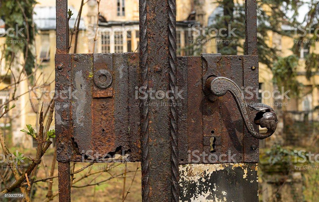 Old rusty metal door stock photo