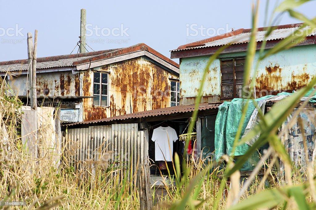 old rusty metal housing stock photo