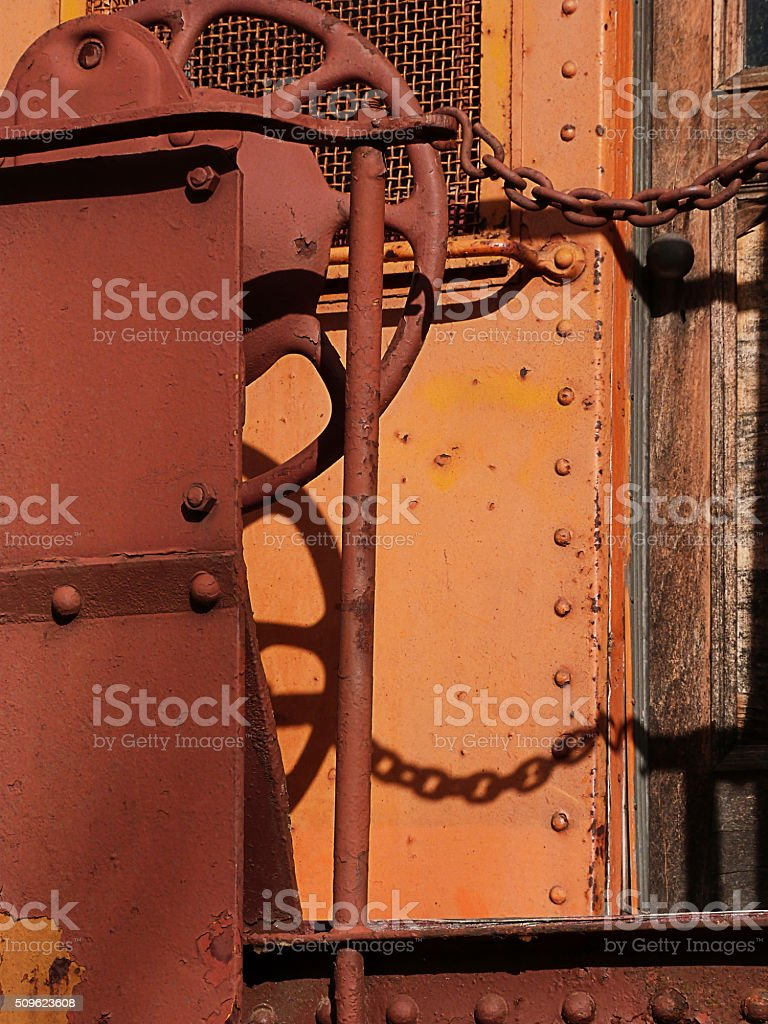 Rusted Railroad Car Wheel stock photo