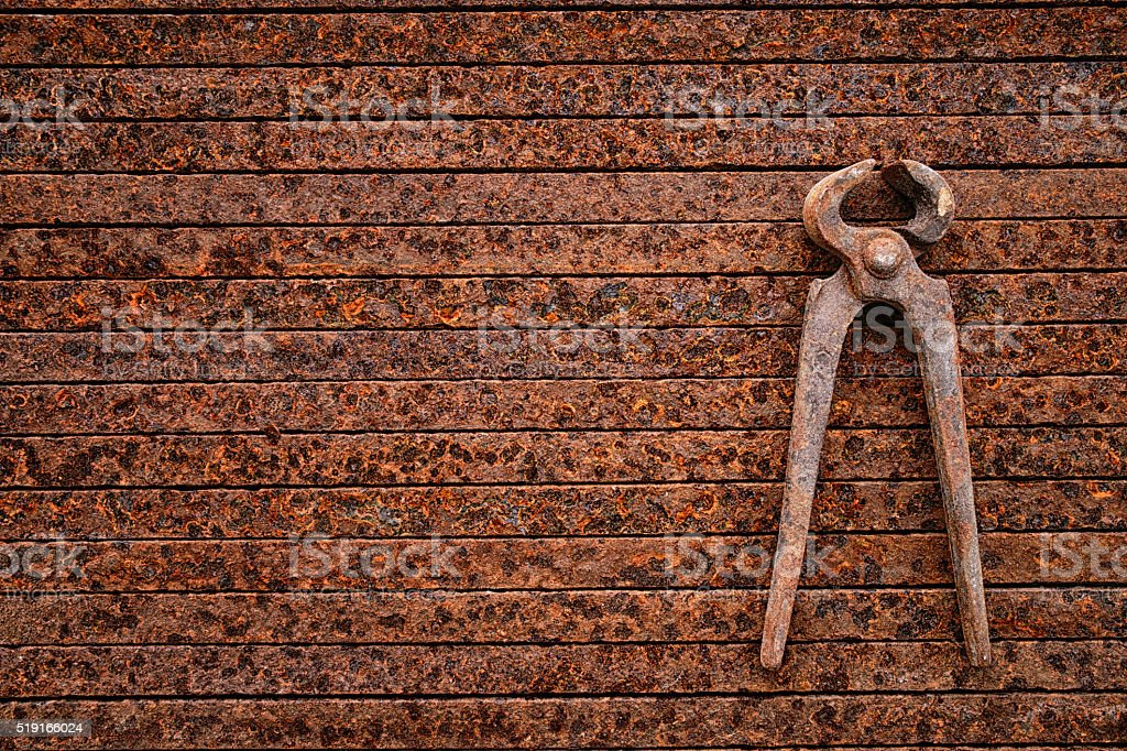 Old rusty nippers stock photo