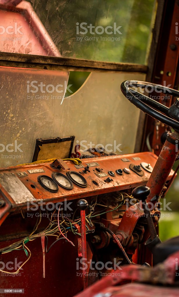 Old rusty panel with the dust and cobwebs around. stock photo