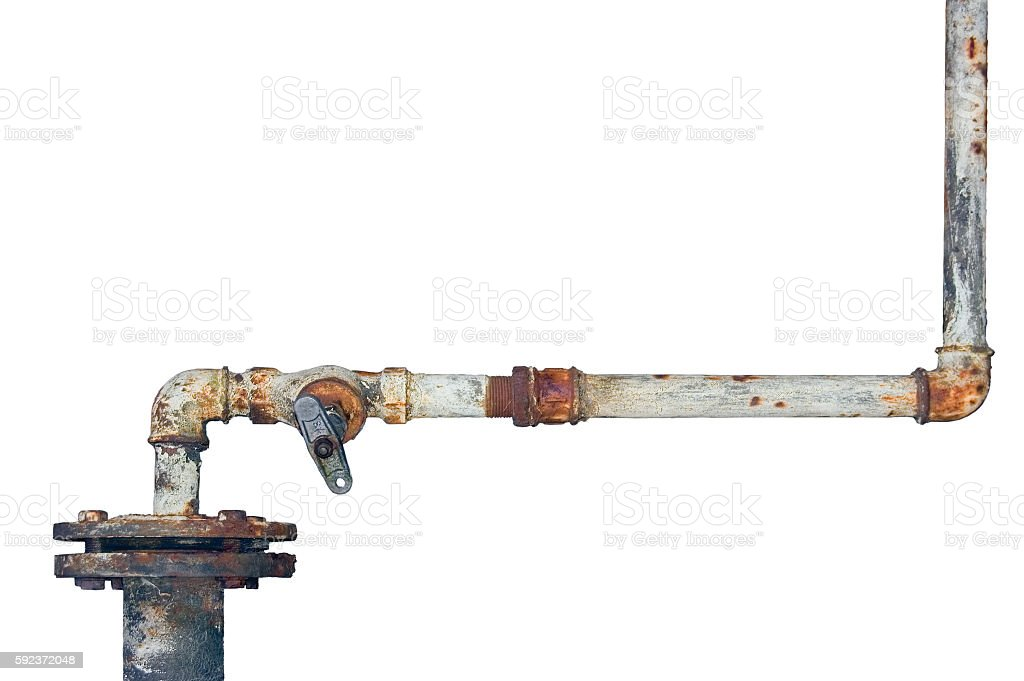 Old rusty pipes, aged weathered isolated grunge rust iron pipeline stock photo