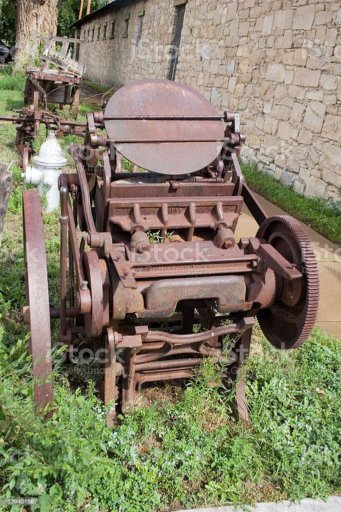 Old rusty printing press royalty-free stock photo