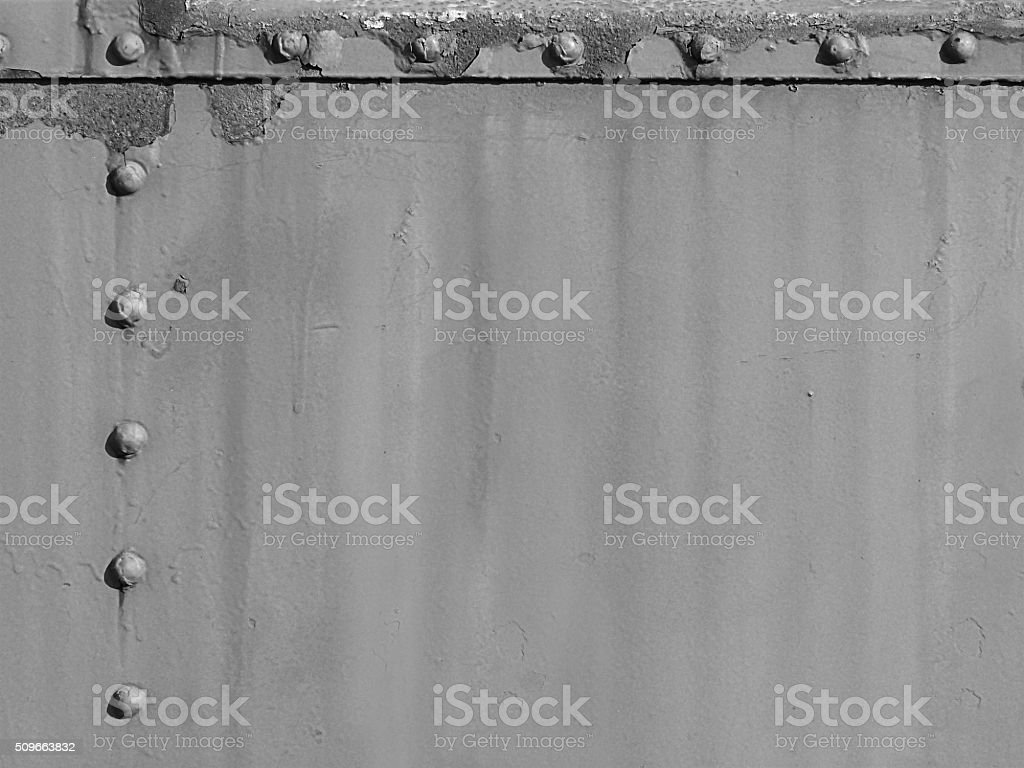 Old Rusty Railroad Metal Rivots Grunge Abstract Background Weathered Monochrome stock photo