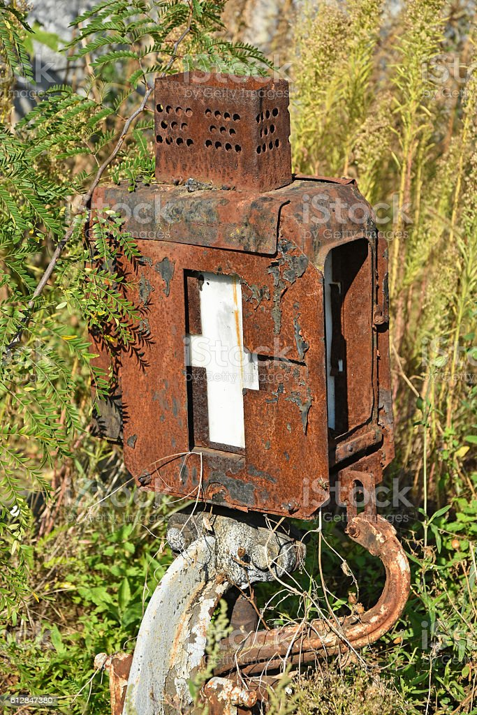 Old rusty railway switch stock photo