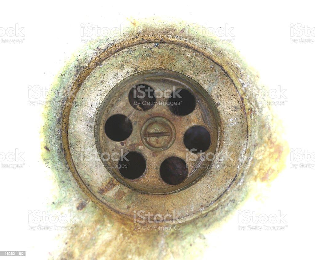 old rusty sink efflux  Alter Abfluss im Waschbecken mit Rost stock photo