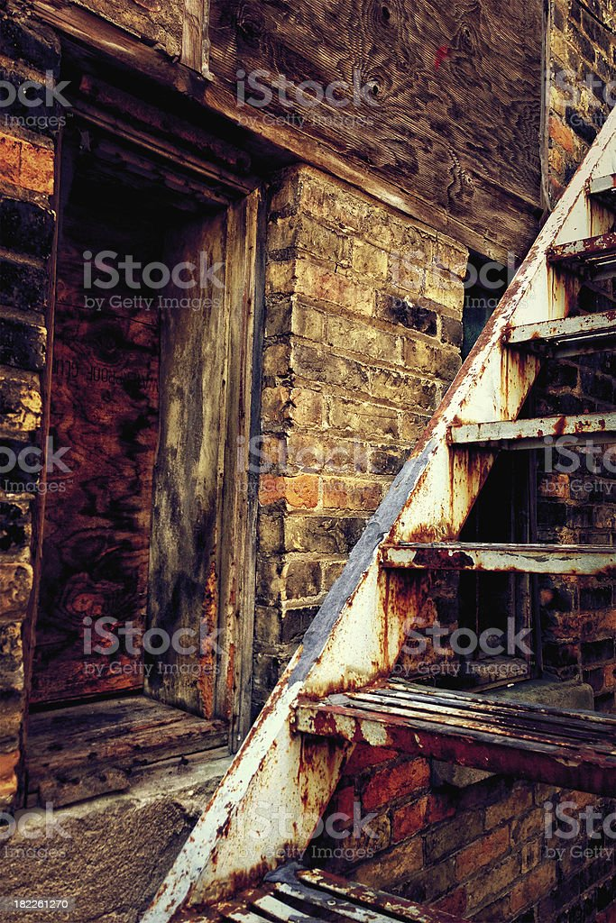 Old rusty staircase stock photo