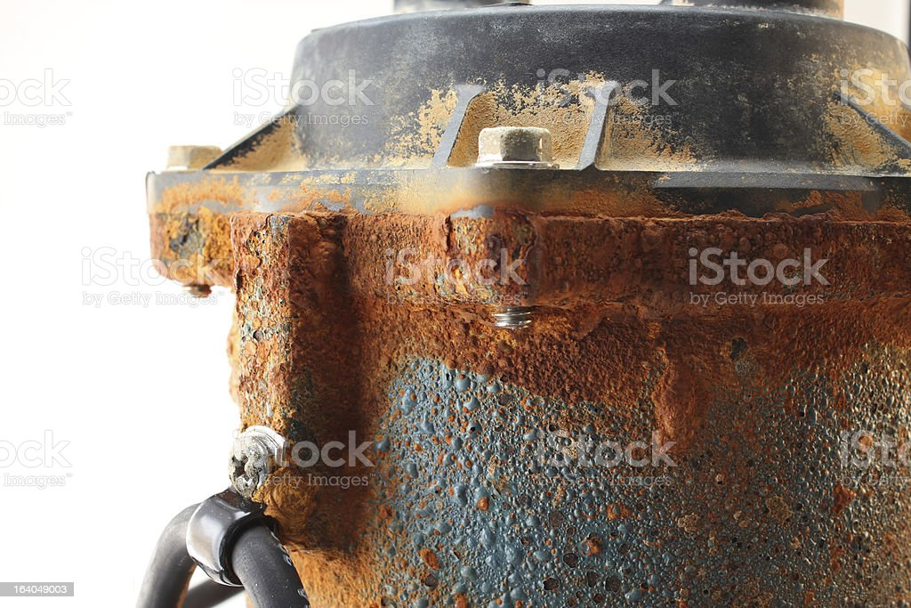 Old Rusty Sump Pump stock photo