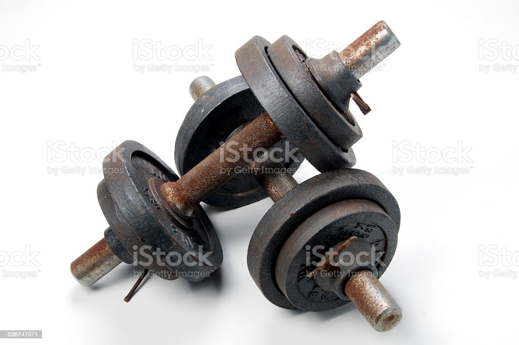 Old rusty tools for gymnastics stock photo