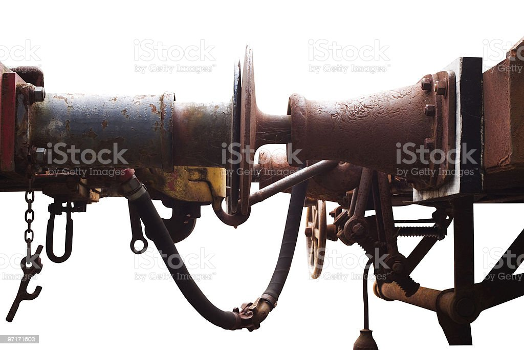 Old rusty train Iron buffers between two carriages, white background stock photo