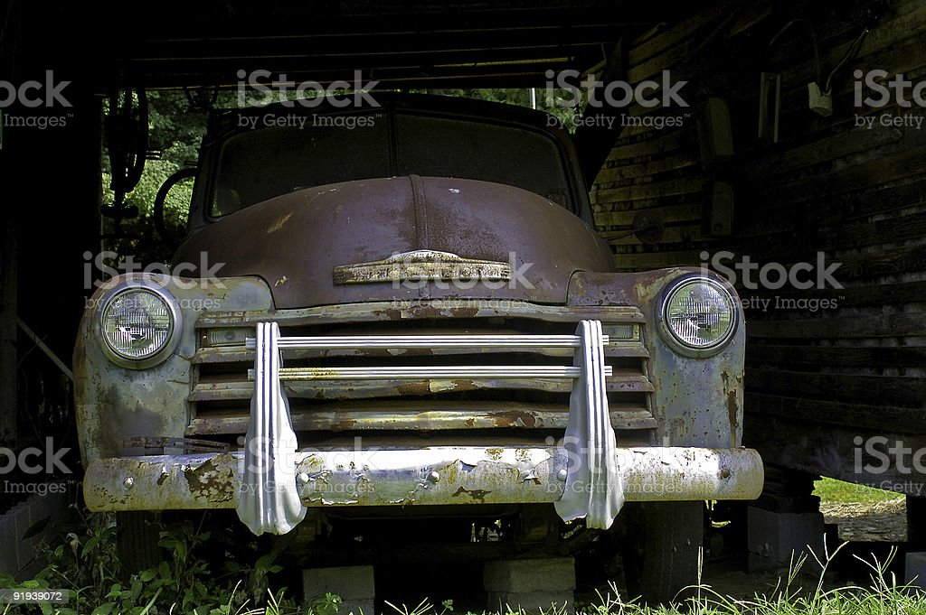 old rusty truck in barn royalty-free stock photo
