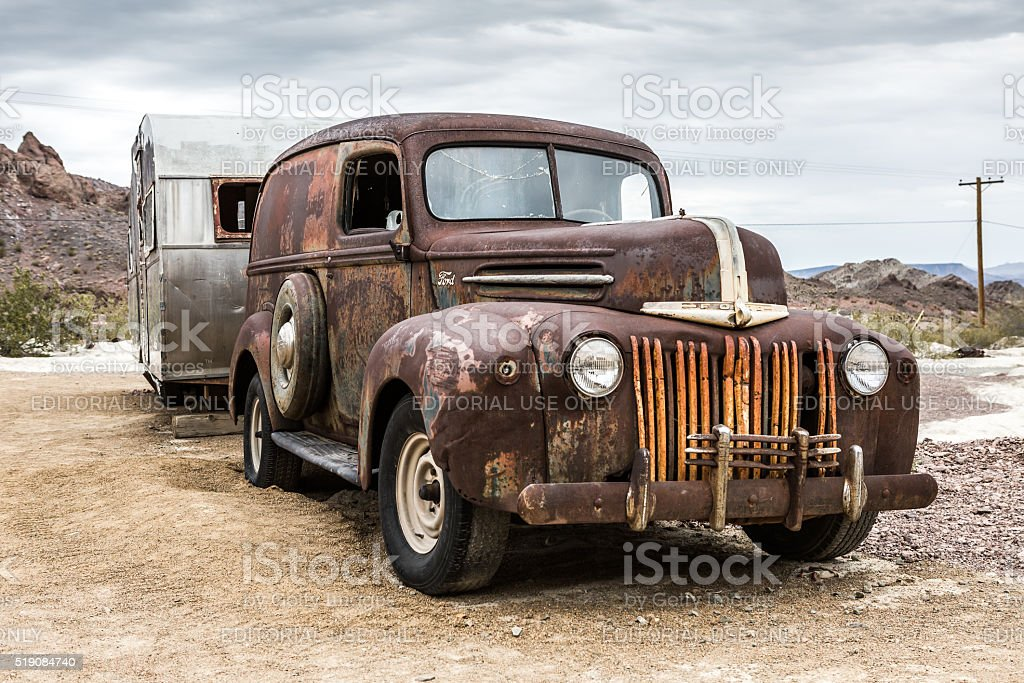 Old rusty truck in Nelson Nevada ghost town stock photo
