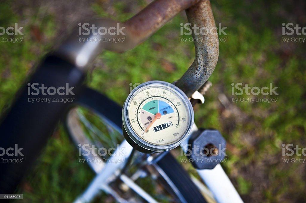 Old rusty unused exercise bike royalty-free stock photo