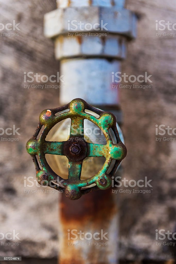 Old rusty water valve. stock photo