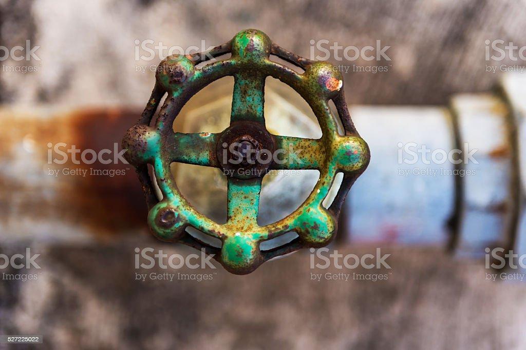 Old rusty water valve. stock photo