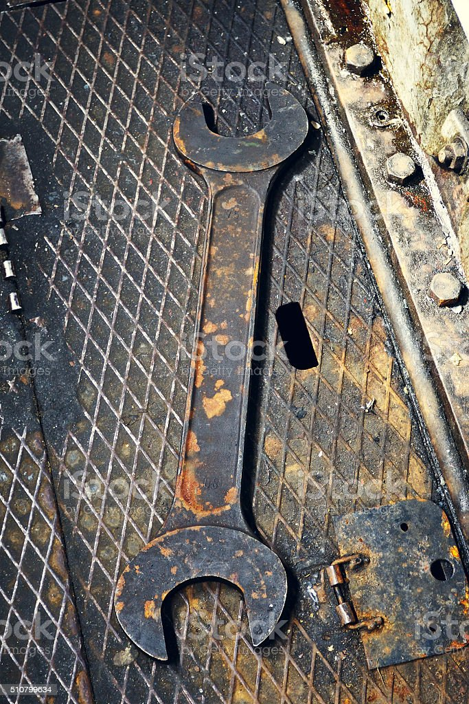 Old Rusty Wrench stock photo