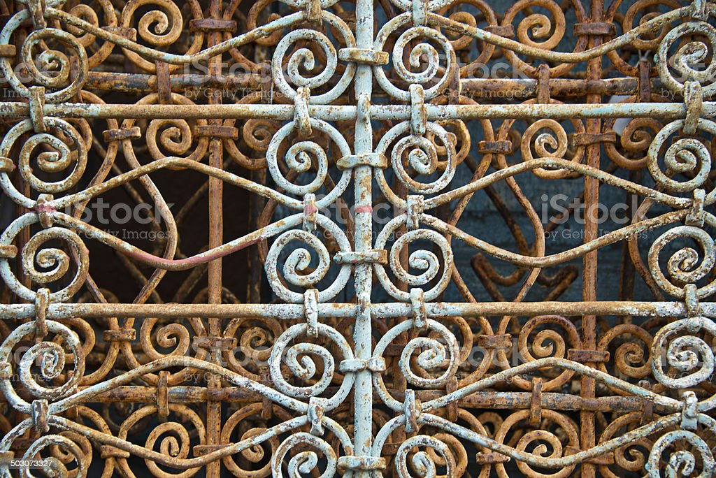 Old Rusty Wrought Iron Lattice Background royalty-free stock photo