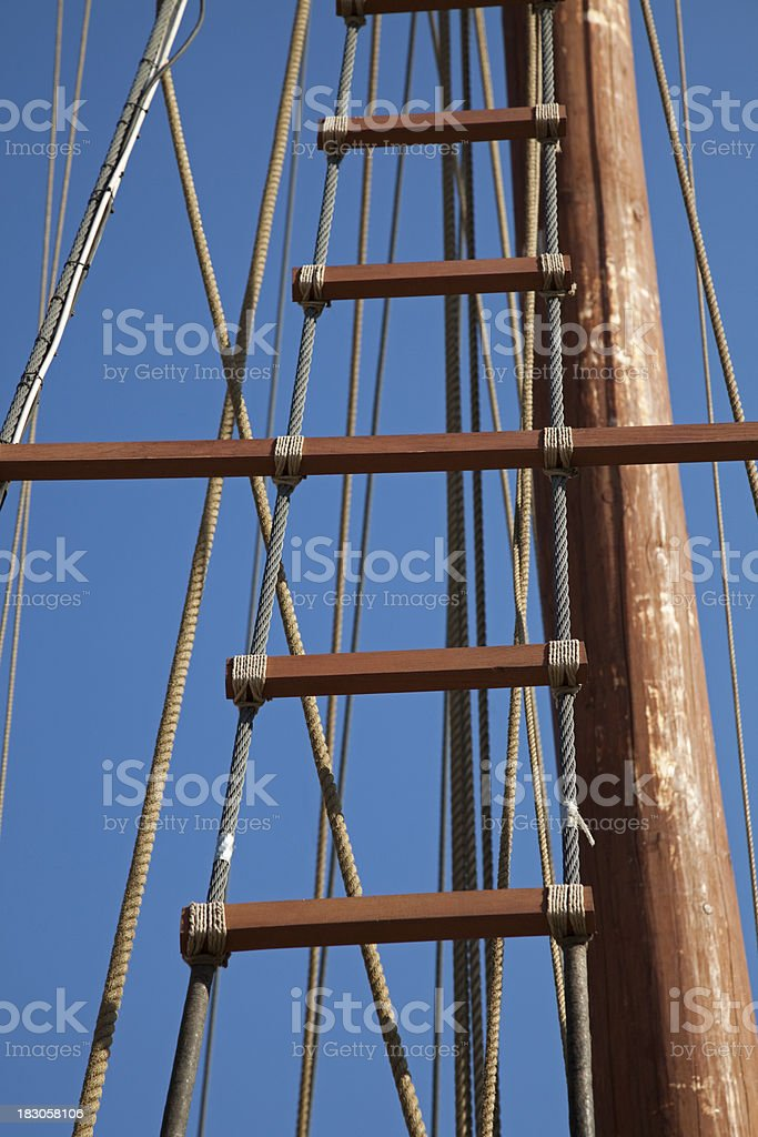 Old Sailboat Detail stock photo