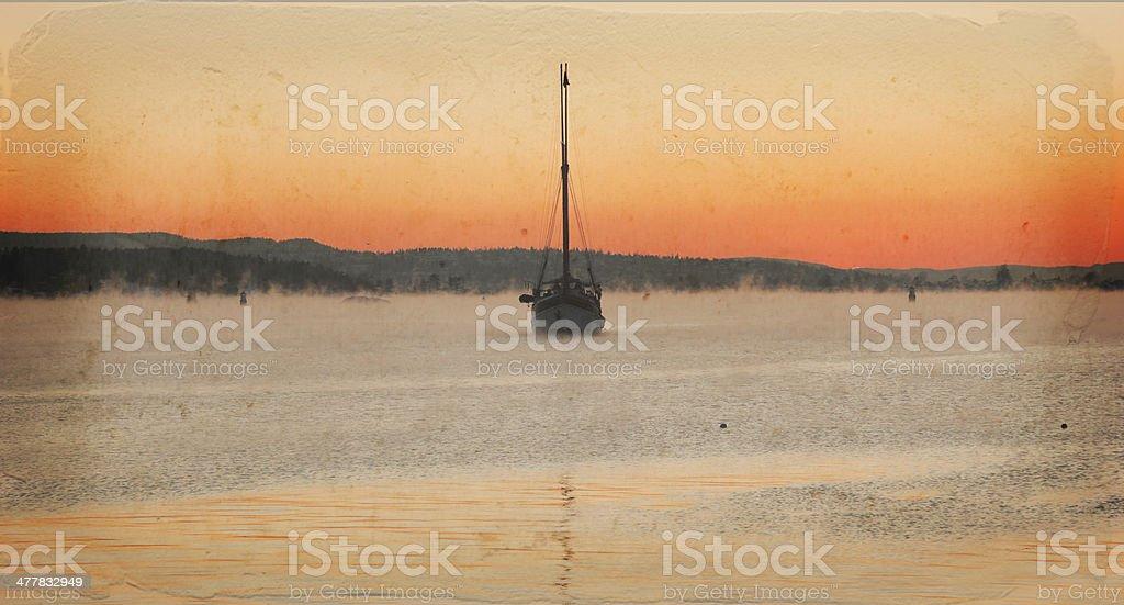 Old sailing ship  at sunset. royalty-free stock photo