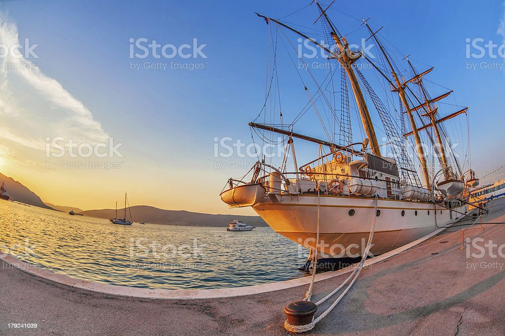Old sailing ship in sunset light royalty-free stock photo