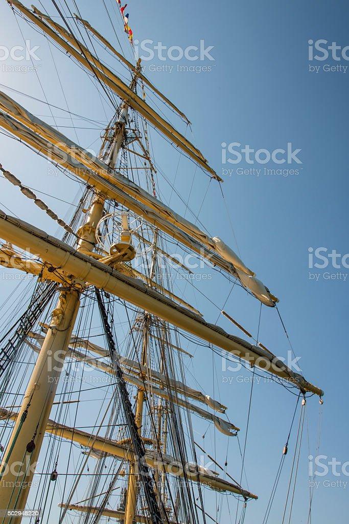 Old sailing ship masts sails and rigging stock photo