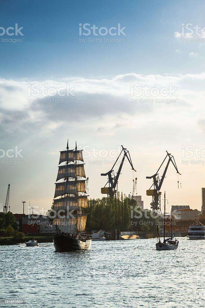 Old Sailing Ship on the River Elbe royalty-free stock photo