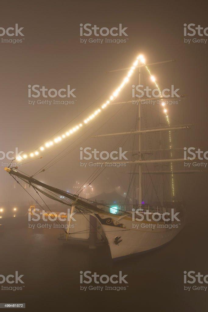 Old sailing ship Stedemaeght at night stock photo