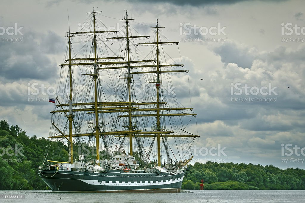 Old sailing ship the  Krusenstern royalty-free stock photo