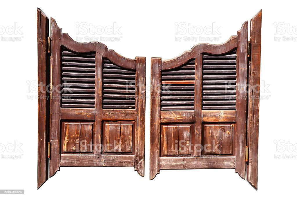 Old saloon doors isolated stock photo